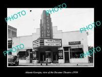 OLD POSTCARD SIZE PHOTO OF ATLANTA GEORGIA VIEW OF THE DECATUR THEATRE c1950