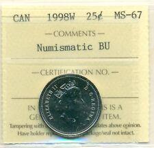 1998W Canada 25 Cent ICCS MS-67 NBU