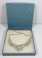 Stunning Vintage Necklace Collar Length Sparkly Diamante Hook Clasp Original Box