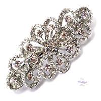 Bridal Wedding Prom Vintage Floral Flower Silver Barrette Hair Clip Grip CL24