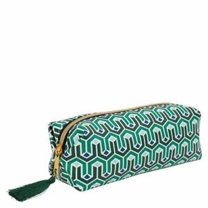 Pencil / Beauty Case - Green Art Deco Square design with gold zip - (1842)