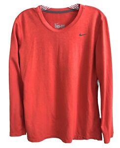 Nike Women's Size Medium Orange Long Sleeve Dry-Fit Shirt Top Golf Running Yoga
