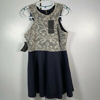 AX Paris Lace Women's Short Dress Navy/Cream Sleeveless Back Zip Size UK 16