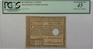 May 5, 1780 $3 Massachusetts Colonial Currency Note PCGS EF-45 Apparent MA-280
