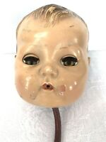 """Vintage American Character Tiny Tears 15"""" Doll HEAD ONLY Molded Hair Rocker Eyes"""