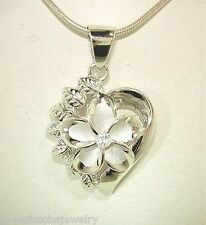 21mm Silver Hawaiian Rhodium Brushed Satin Plumeria Maile Heart Pendant #1
