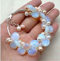 Charme & white pearl Mondstein Armband