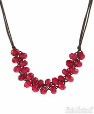"FOSSIL Brand Global Nomad Woven Red Jade Beads Cord 26"" Necklace $58"
