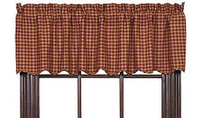 New Primitive Country Homespun Burgundy Tan Checked Scalloped Curtain Valance