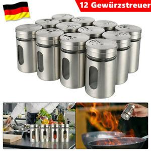 12Gewürzstreuer Edelstahl Pfeffer Salz Gläser Gewürz Streuer Dosen Glas Box Set