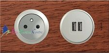 Prise 2P+T + double USB Céliane acajou 67111+67462+68411+68556+80252+69222