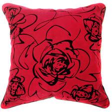 UF36a Black Rose Bright Red Velvet Style Cushion Cover/Pillow Case *Custom Size*