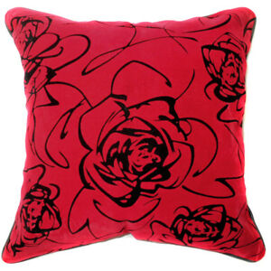 UF36a Black Rose Bright Red Velvet Style Cushion Cover/Pillow Case *Custom Size*