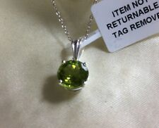 """2 Ct, AA, Chinese Peridot Pendant, Solitaire, Round, 18"""" ChaIn, Sterling Silver"""