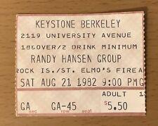 1982 Randy Hansen / Rock Island / St. Elmo'S Fire Berkeley Concert Ticket Stub