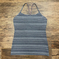 Womens Lululemon Grey Striped Power Y Tank Top size 8 Gym Athletic Yoga
