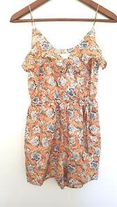 ZIMMERMANN Ladies Designer Silk Salmon Floral Print Sleeveless Romper size 8 EUC