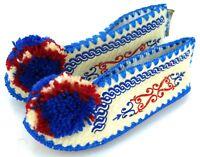 Traditional Greek Woolen  Slippers 100% Wool Tops Leather Soles Unisex 4.5 uk 37