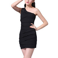 Glittery One shoulder Chiffon Club Party Cocktail Mini Bandage Dress Black