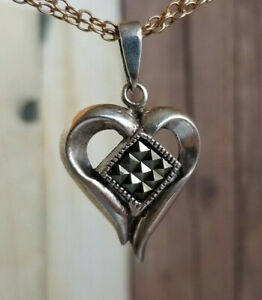 Vintage 9-Patch ON POINT HEART PENDANT Salerno Italy Sterling & Marcasite
