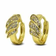 9ct Gold Filled Elegant Art Deco Style Womens Hoop Earrings White CZ Crystals 9K