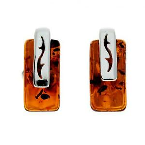 Certified Natural Amber Rectangular Studs Earrings set in 925 Sterling Silver