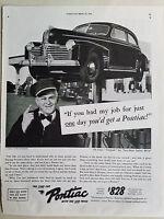 1941 Pontiac Deluxe Torpedo Six Two Door Sedan Car Service Man Original Ad