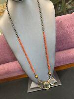 "Vintage Boheniman Red Glass Seed Bead Quartz Stone Pendant 32""Long Necklace Boho"
