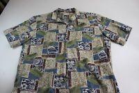 Royal Hawaiian Creations Tiki Print Pocket hawaiian CAMP SHIRT Large L