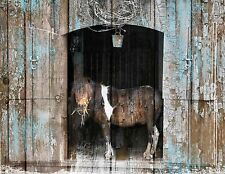 Barn Horse Country Farmhouse Wall Decor, Rustic Brown Blue Home Matted Picture