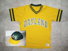 Vintage Sand-Knit Oakland Athletics A's Medium Yellow Jersey USED Shirt Hat LOT