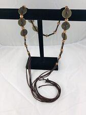 Dragon Cash Coin Belt Ceramic Bead Spacers Brown Thong Woven Thru Tassel Fringe