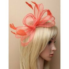 Large Coral Looped Sinamay & Feather Fascinator on Clear Comb