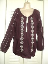 Lucky Brand Womens Purple Embroidered BOHO Peasant Blouse TOP XXL 1X