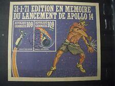Gabon 1971 USED souvenir sheet SPACE Apollo 14, Thor, nordic, norse gods