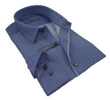 Chemise Homme italienne tendance Bleu Type Jeans Enzo di Milano SlimFit T.xxl