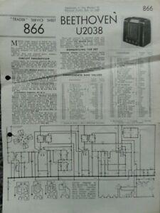 Beethoven U2038 3 Band Super Het Radio Service manual