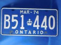 ONTARIO LICENSE PLATE 1974 B51 440 VINTAGE CANADA MUSCLE CAR SHOP GARAGE SIGN