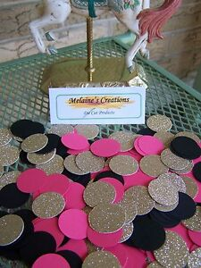 Hot pink, black, and gold confetti 300 pieces of one inch circle pieces