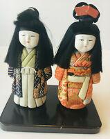 Vintage Japanese Kimekomi Dolls - Set of 2 - Mint