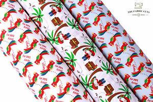 Premium Cotton Poplin Fabric Pirate Treasure Map Chest Palm Tree Tropical Parrot