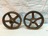 """Vintage Cast Iron Wagon/ Cart Wheels Pair 7.5"""" Diameter x 1.5in thick"""