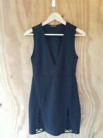 FASHION NOVA Women's Bodycon Dress V-Neck Sleeveless Black Color Stretch.Size L