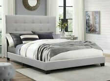Tall and Tufted Headboard Gray Upholstery Platform Bed Frame Queen Full Twin