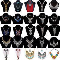 Retro Women Choker Chunky Charm Pendant Statement Chain Collar Necklace Jewelry