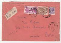 STORIA POSTALE 1957 REPUBBLICA L.25+30+100 SU RACC. GIOIA DEL COLLE Z/6389