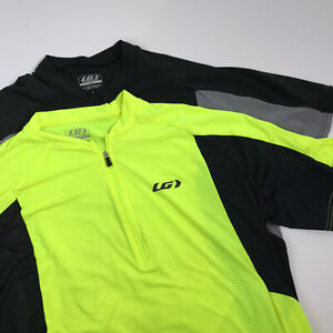 Louis Garneau Cycling Jersey Lot of 2 Mens Large Neon & Black 1/2 Zip Stretch