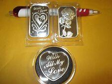 3 x 1 oz  .999 Fine silver  love heart rose  bullion  Bars