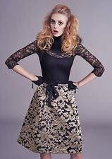 New ALANNAH HILL Black Gold Brocade Structured Fantasy Love Is Better Skirt 6