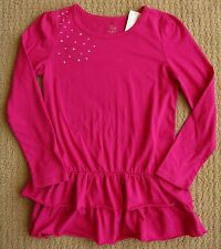 The Children's Place NWT Hot Pink Ruffle Tunic Tiered Top Tee Shirt L/10-12 BTS